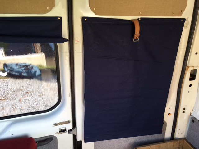 Home made navy blue roll up blinds on a Transit van conversion a wilder life