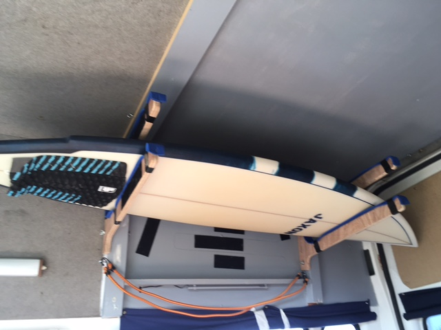 Simple surf board rack idea for the van conversion