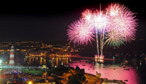 Fireworks over Plymouth Harbour