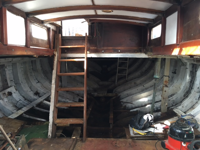 Inside of a boat before she was converted into a tiny home