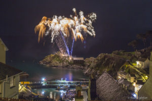 Fireworks over Polperro harbour in Cornwall