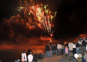 Fireworks on Porth beach in Newquay
