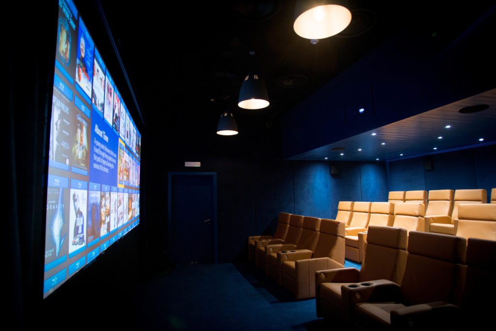 Inside of St Mawes Cinema showing the luxury seating and the screen