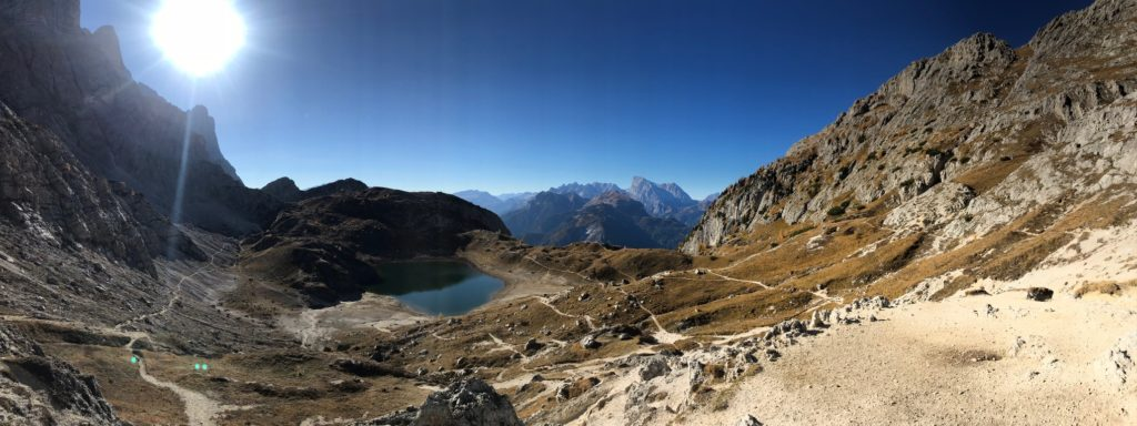 Panorama of the Dolomites on the Alta Vita 1 trail