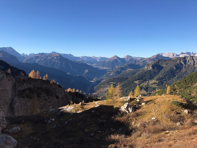 A view of the Dolomites mountains in Italy on a sunny day in October